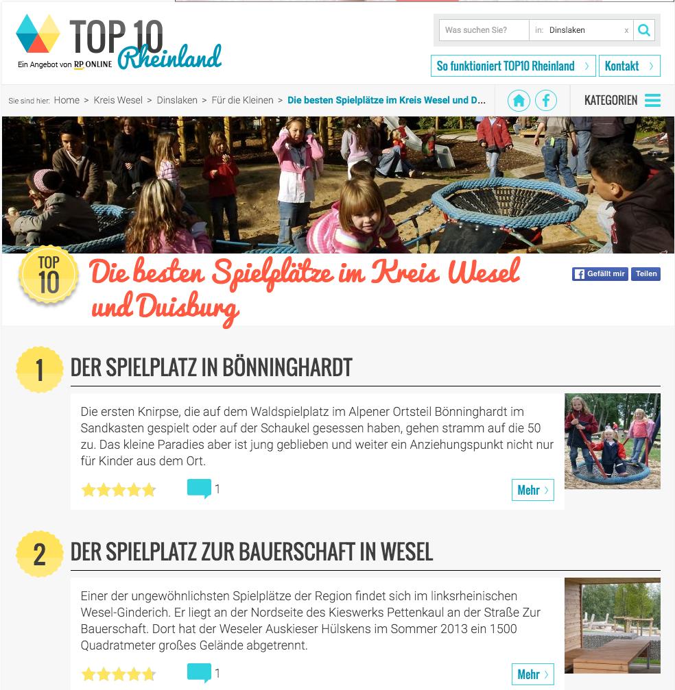 Unser Spielplatz ist wieder TOP1! | Bönninghardter Förderverein für ...